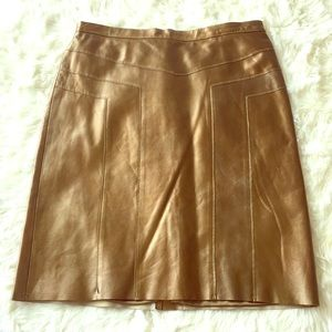BCBG Maxaxazria Gold Leather Skirt